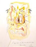 Le singe hurle la vase de son admiration béate, lion en colère