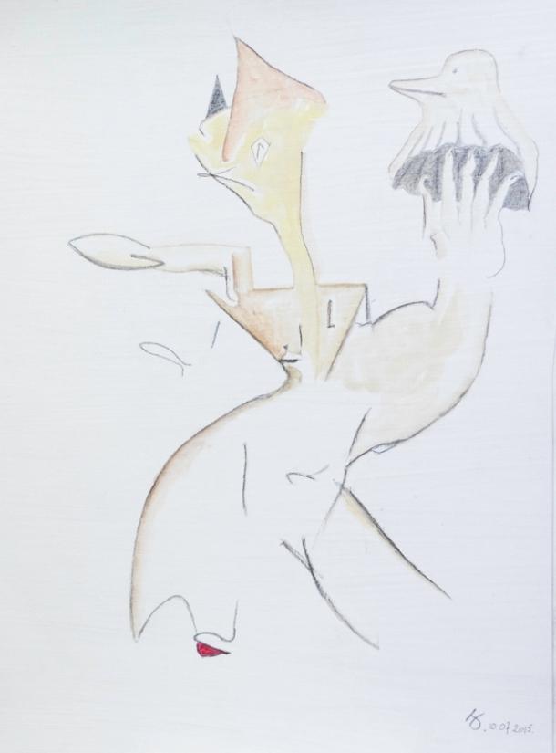 aquarelle s/papier enduit à la colle de peau.  24,5x33 cm. 10/07/2015.