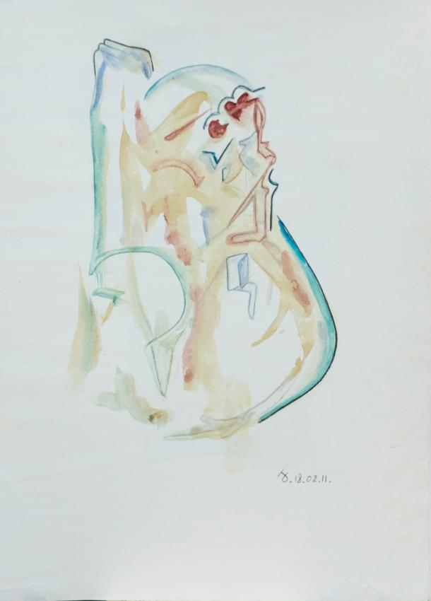 Aquarelle s/papier enduit 27x38. 18/02/2011.