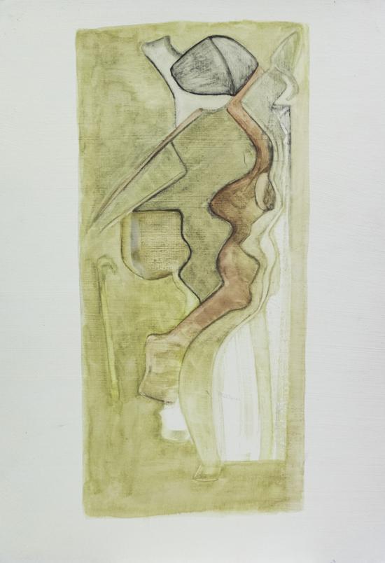 Aquarelle s/papier enduit 23,5x33,5 cm. signé au dos. 2008.