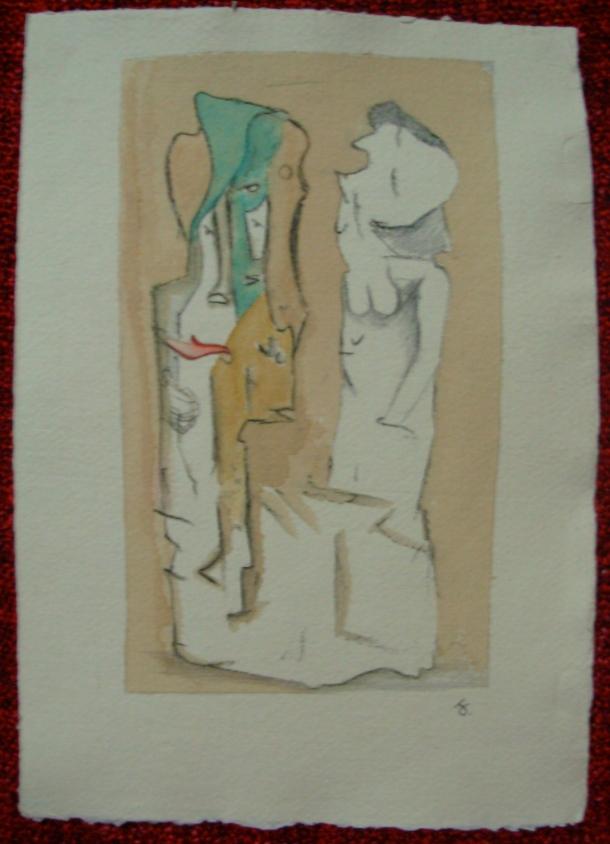 aquarelle et encre s/papier 21 x 30 cm. non daté.