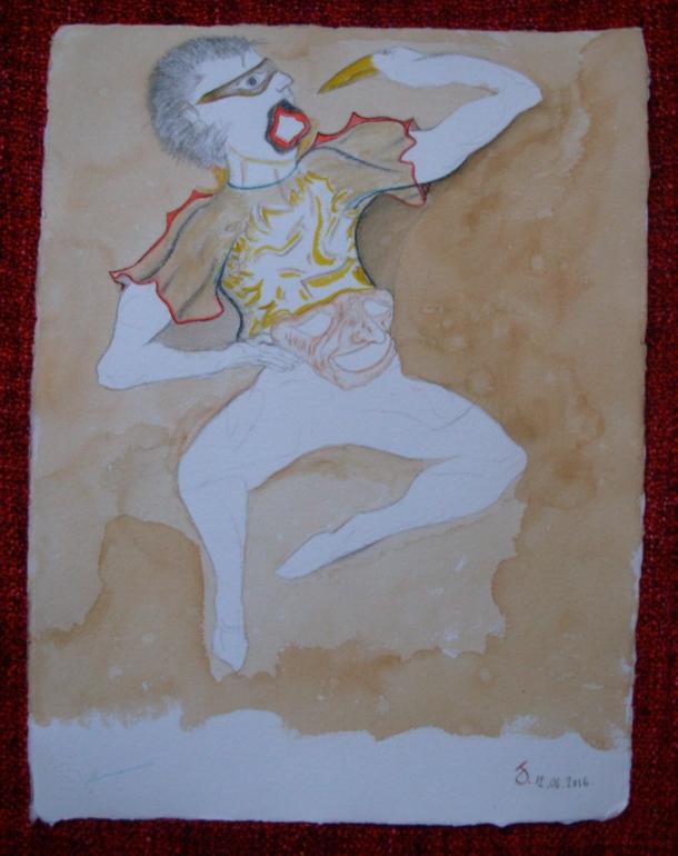 aquarelle et café s/papier 30,5 x 40,5 cm. 12. 06. 2016.