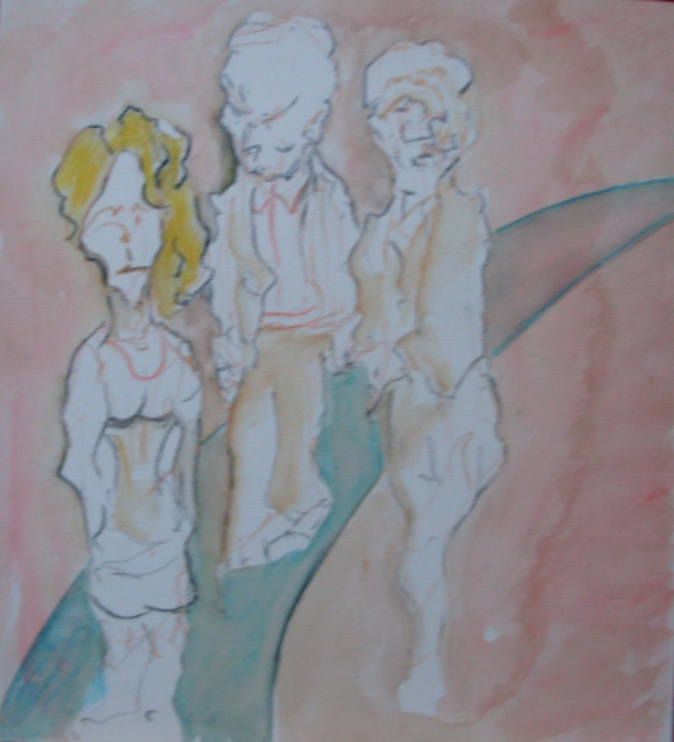 aquarelle et pierre noire s/carton Ingres 28,5 x 31,5 cm. 20. 06. 2016.