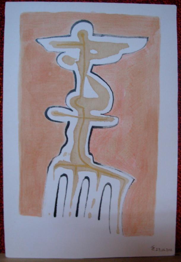 aquarelle, encre et café s/carton Ingres 20,5 x 30,5 cm. 23. 06. 2016.