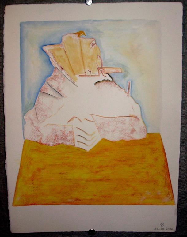 sanguine grasse aquarelle et encre s/Fabriano. 28,5 x 38,5 cm. 26. 10. 2016.