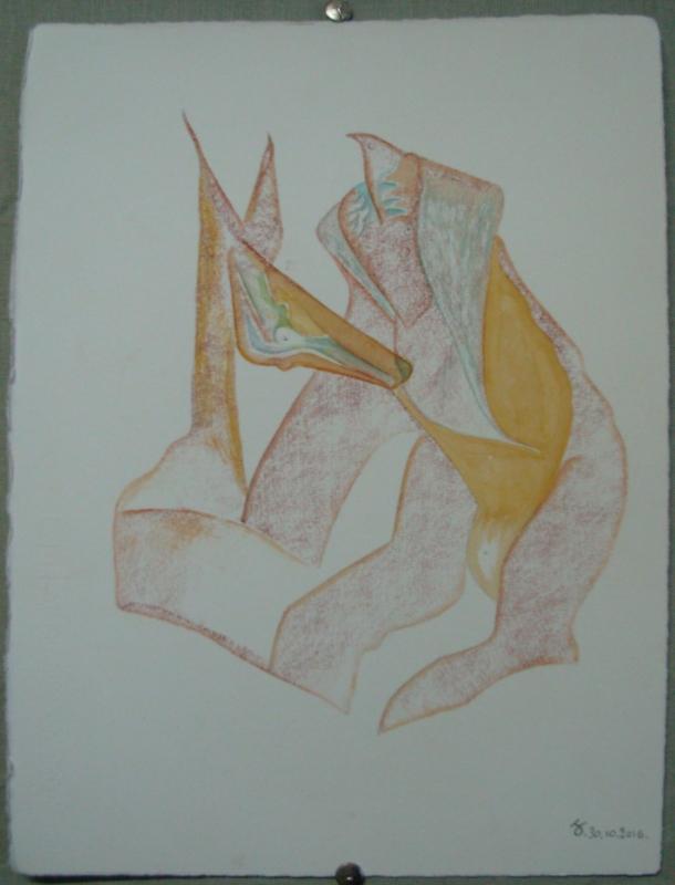 sanguine grasse, encre et aquarelle s/Fabriano. 28,5 x 38,5 cm. 30. 10. 2016.