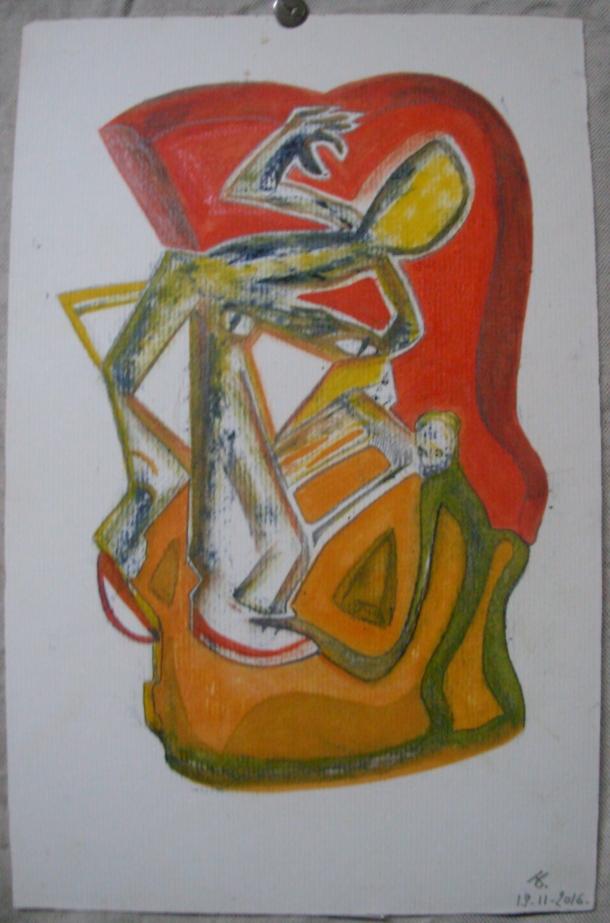 huile sur carton Ingres. 19,5 x 30 cm. 18. 11. 2016.