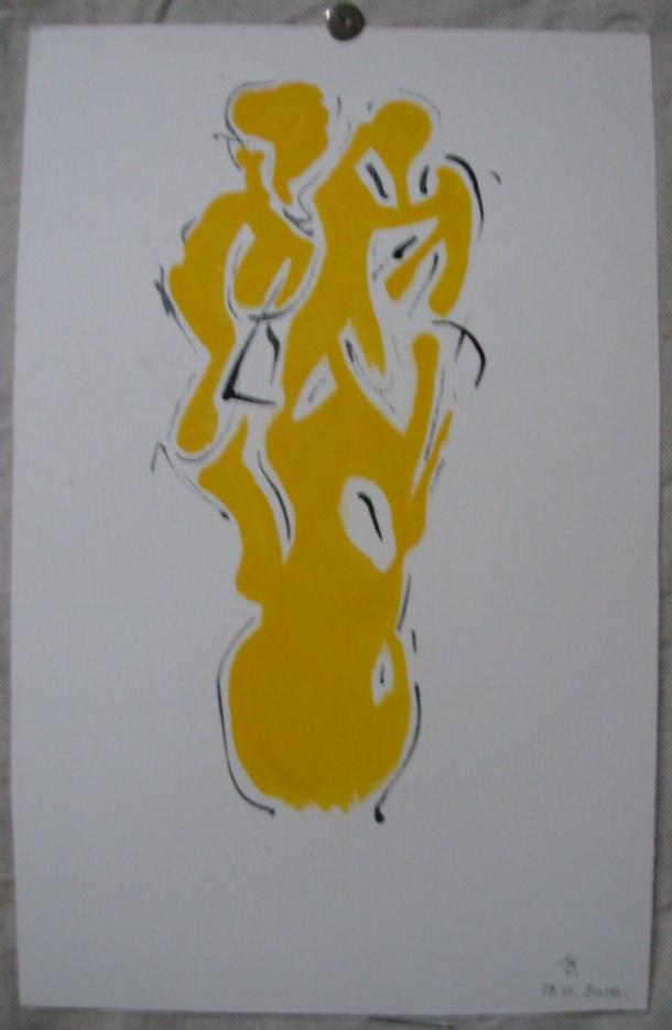 encre de chine et huile s/carton Ingres. 19 x 30 cm. 19. 11. 2016.