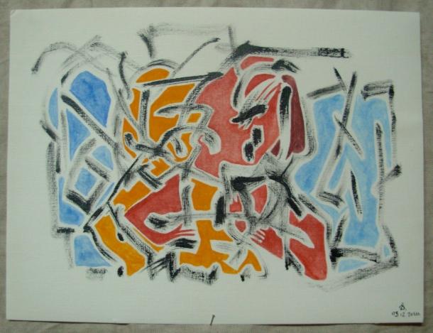 huile et encre de chine s/papier pour peinture à l'huile n°2 Schoellershammer. 24 x 32 cm. 03. 12. 2016.