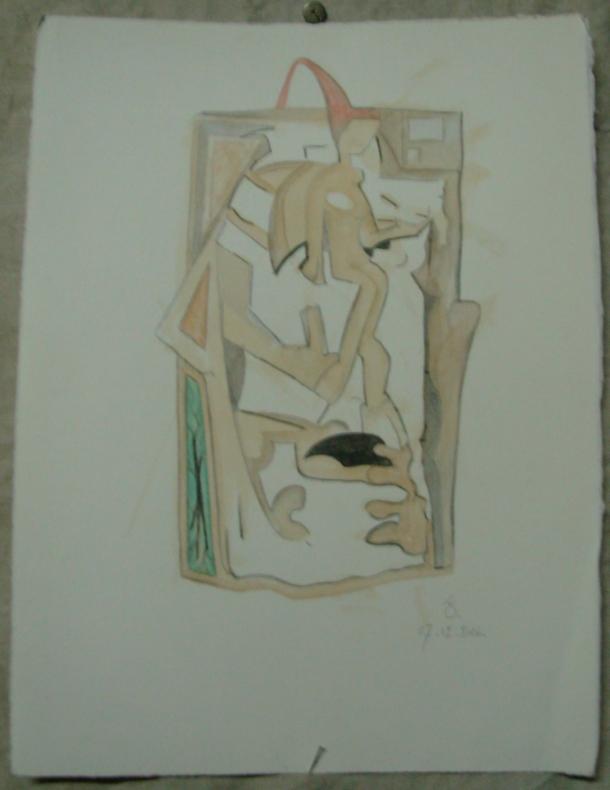 aquarelle et café s/Fabriano. 29 x 38 cm. 07. 12. 2016.