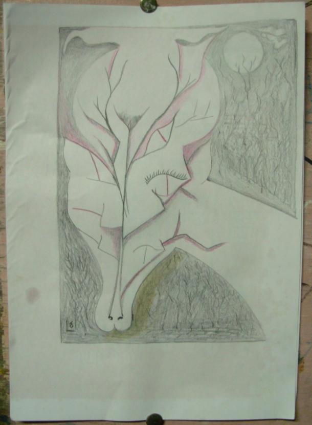 dessin s/papier. 29 x 30 cm. sans date.
