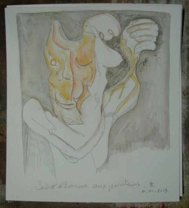aquarelle et crayon s/Fabriano 300 g. 18 x 20 cm. 01. 01. 2017.